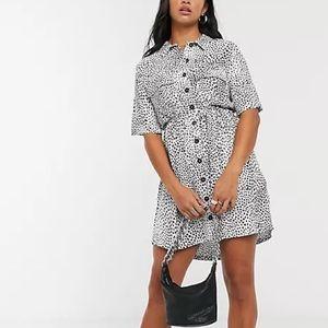 Topshop Dalmatian Maternity Shirt Dress Black 8